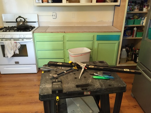 moved the pantry---workbench in the middle of the room