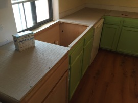 sink cut out; cement board installed