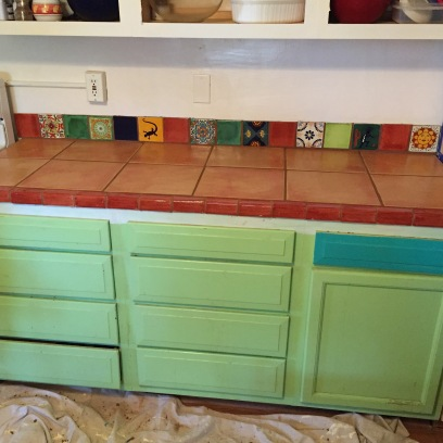 the long counter left of the pantry