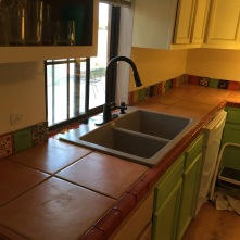the new sink and counter top